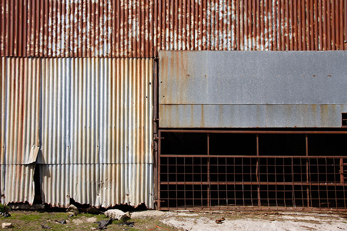 Rusting steelwork and corrugated iron in a North Pennine cowshed 2015
